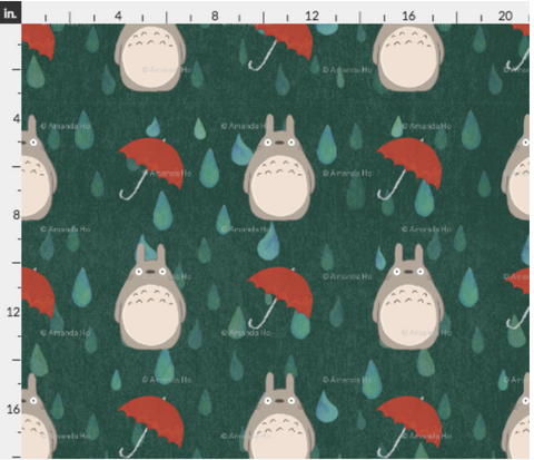 Totoro Fabric - Green with Red Umbrellas
