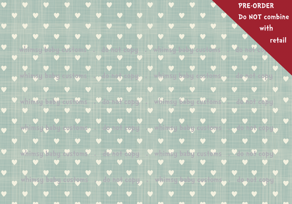 Hearts on Green Grunge Fabric