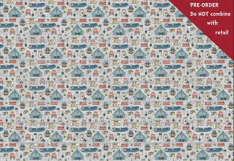 Life is Better By the Campfire Heather Grey Fabric