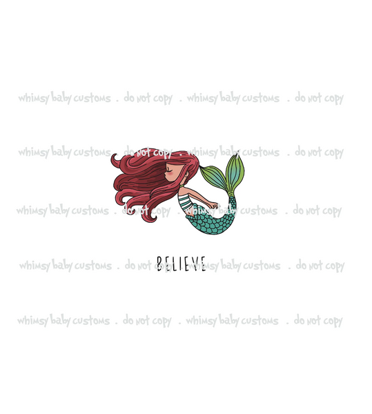 Believe Mermaid Redhead Child Panel (Swim Fabric)