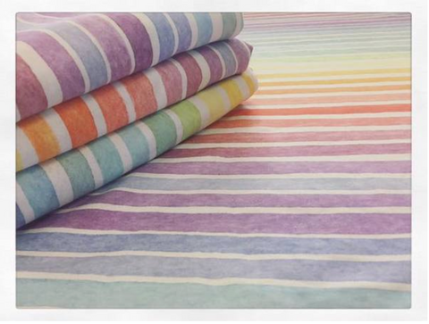 Pastel Watercolour Rainbow Stripes (Puffin) Fabric
