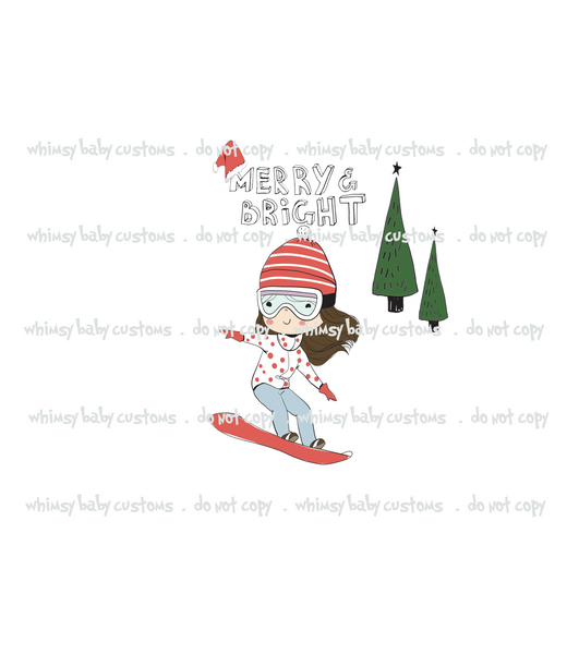 Child Panel Christmas Natalia Merry and Bright Snowboard Girl