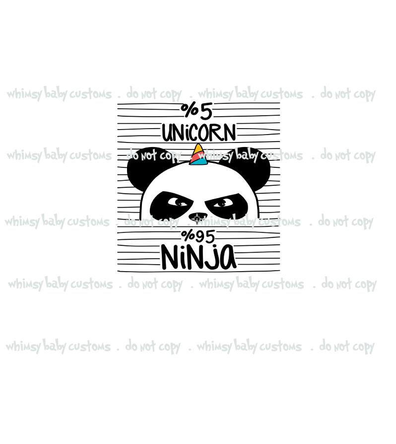 592W   5 Percent Unicorn 95 Percent Ninja Child Panel (on WHITE)