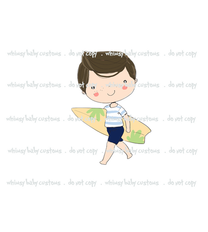N700 Surfer Boy Brunette Child Panel