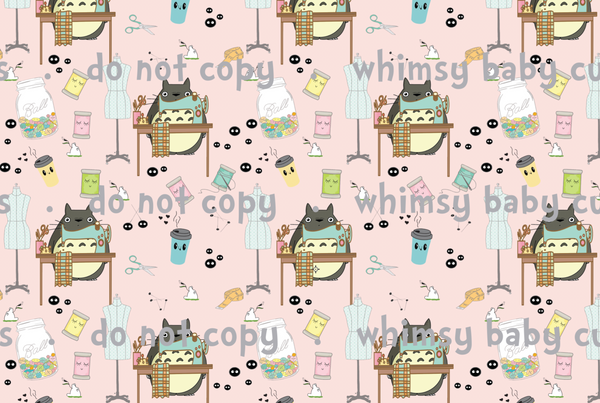 Whimsy Fluff Fabric Totoro Makers Gonna Make on Pink