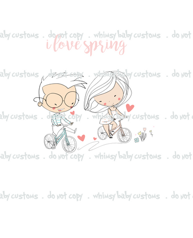 N693 Perfect Spring Day (2019) Child Panel - I Love Spring (Boy and Girl on Bicycle)