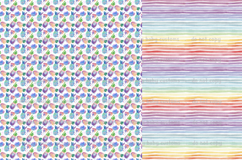 Special Preorder: Watercolour Fruit and Stripes Half and Half