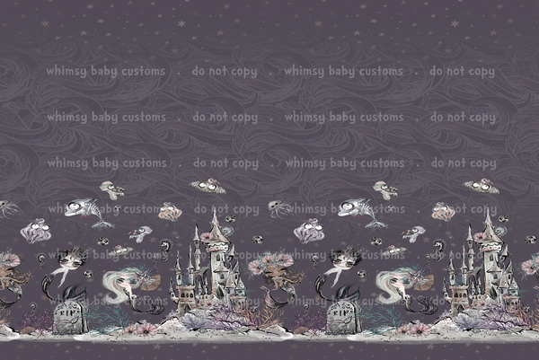 Fabric Border Print Underwater Zombies on GREY
