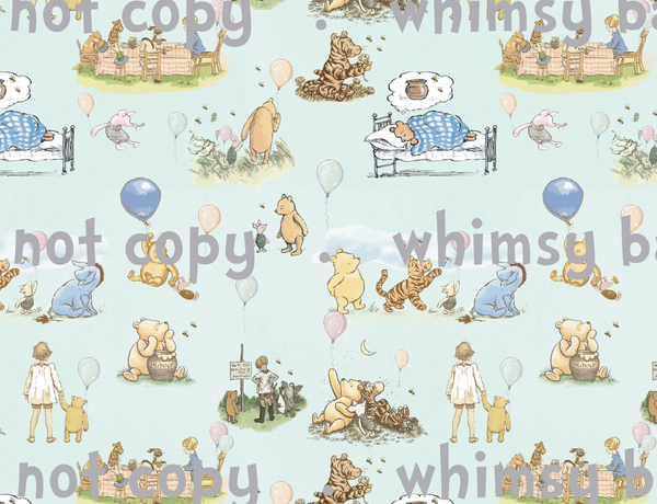Fabric Winnie the Pooh Winter main ON VARIOUS BASES