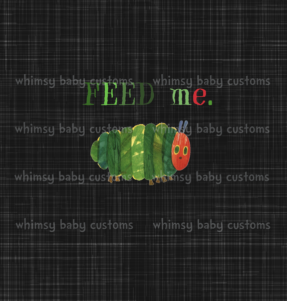 790B Child Panel Hungry Caterpillar Feed Me on Grunge Black