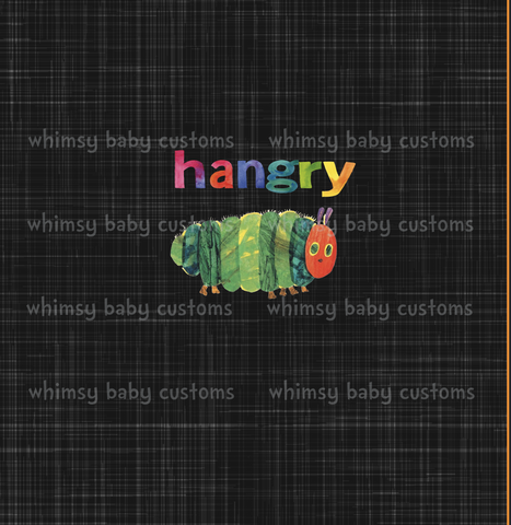 Sept/Oct Preorder - Adult/Romper Panel Hungry Caterpillar Hangry on Grunge Black