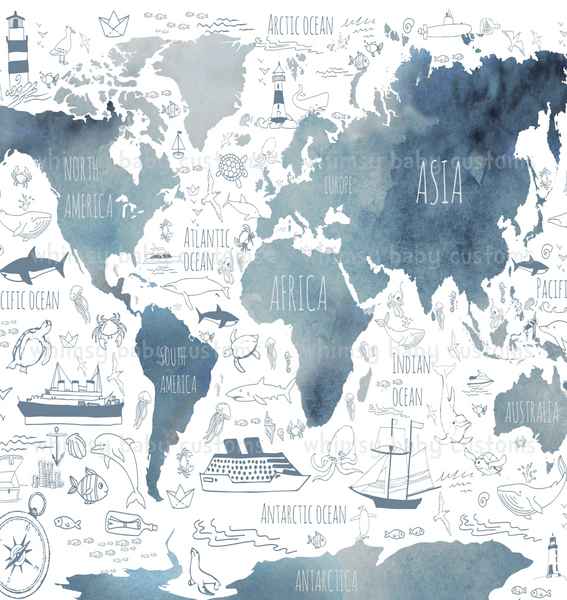 880 Child Panel Watercolour World Map