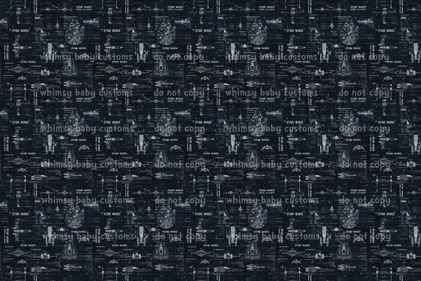 Fabric Galactic Battles Grunge on navy