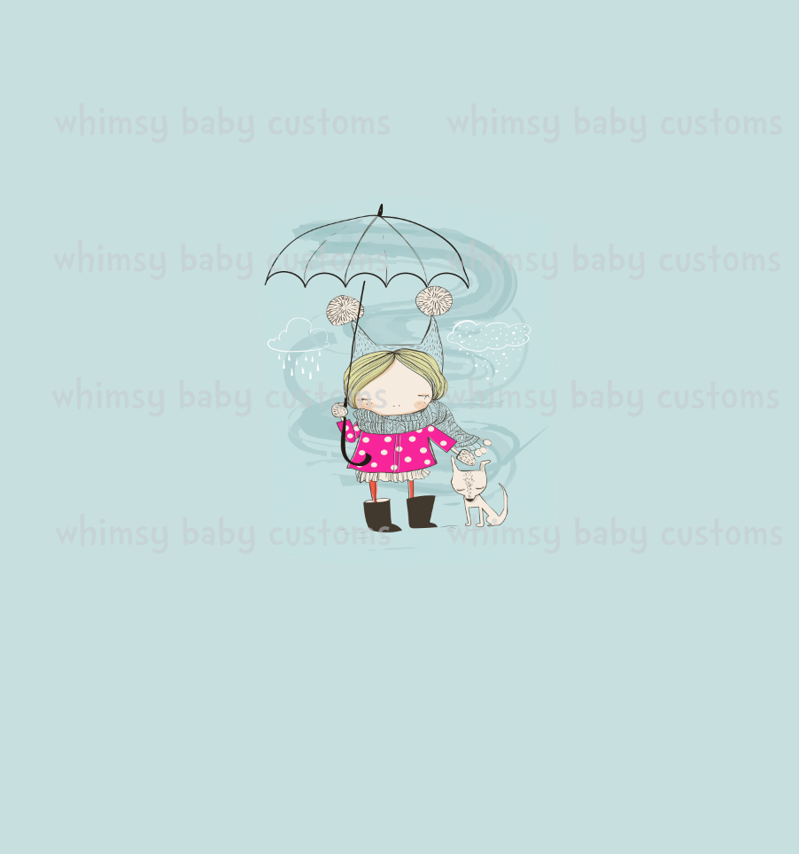 362 Woodland Girl with Umbrella Child Panel