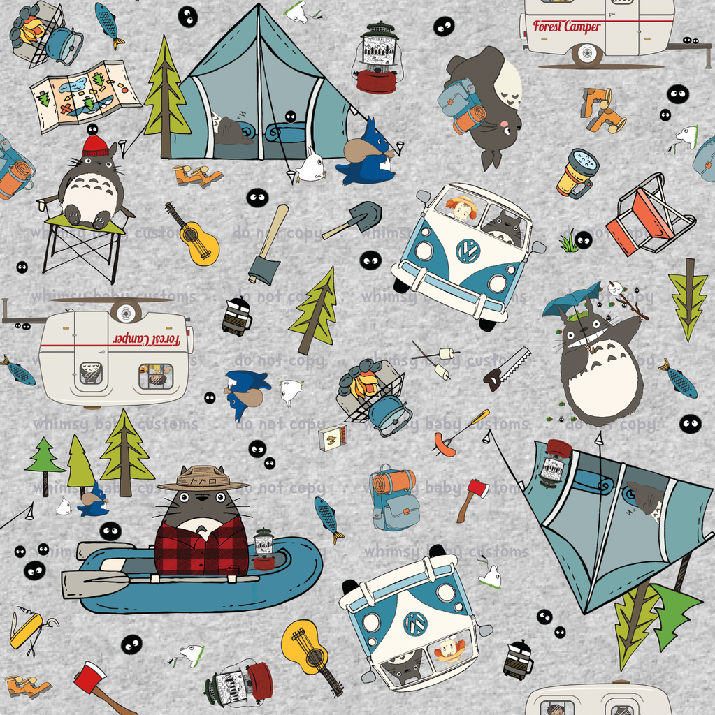 Fabric Totoro Loves Camping on Heather Grey