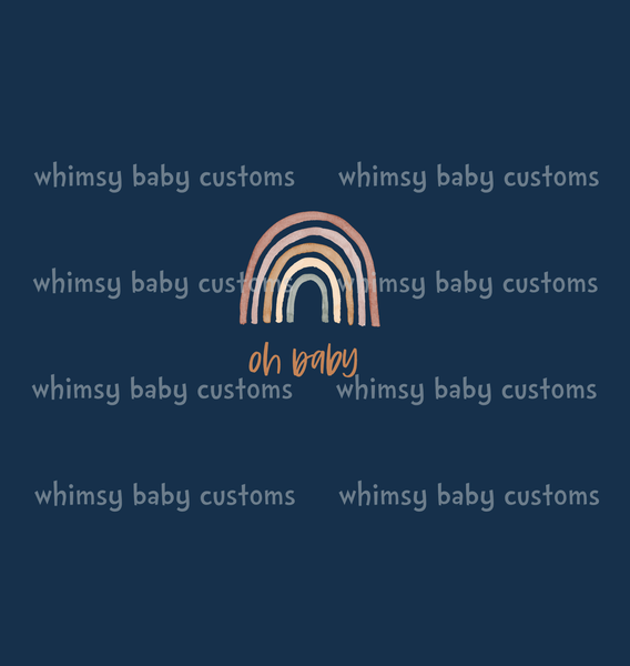 Nov/Dec 2019 Preorder - Child Panel Earthtoned Rainbow Collection Oh Baby on Navy