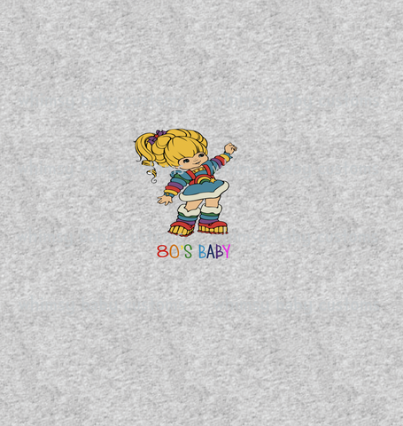 544H Rainbow Brite 80's  Baby Child Panel (on HEATHER GREY)