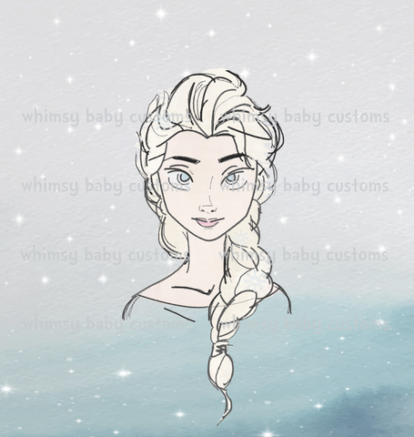 Child Panel Cold Sisters Hand Drawn Ice Queen ON FLUFF