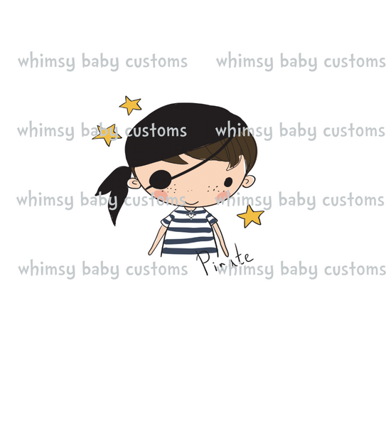 N686 Pirate Boy Child Panel (on White)
