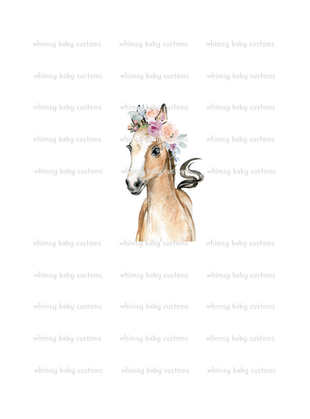 Adult/Romper Panel Watercolour Horse with Tiara ON FLUFF