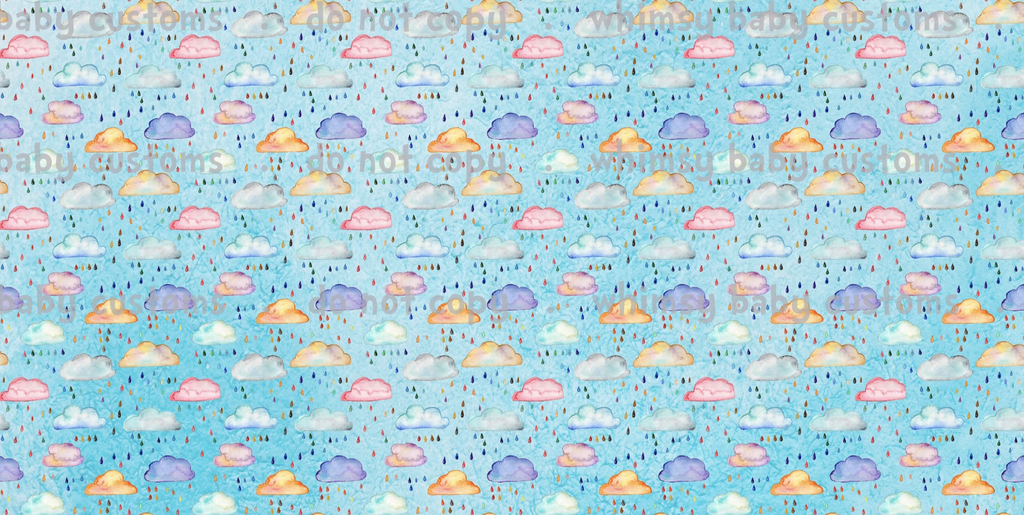 Feb/March 2020 Preorder - Fabric Watercolor Rain Clouds on Light Blue ON VARIOUS BASES