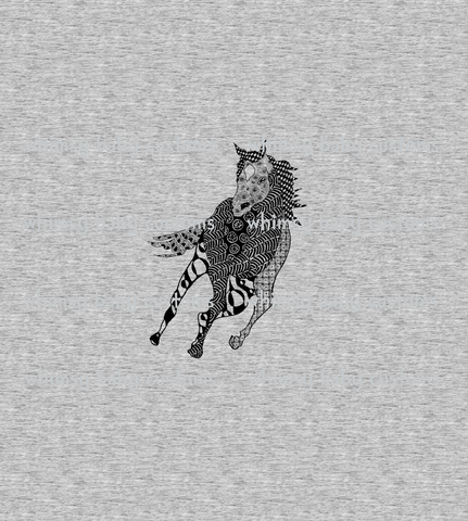 Feb/March 2020 Preorder - Adult/Romper Panel Horse on HEATHER Grey