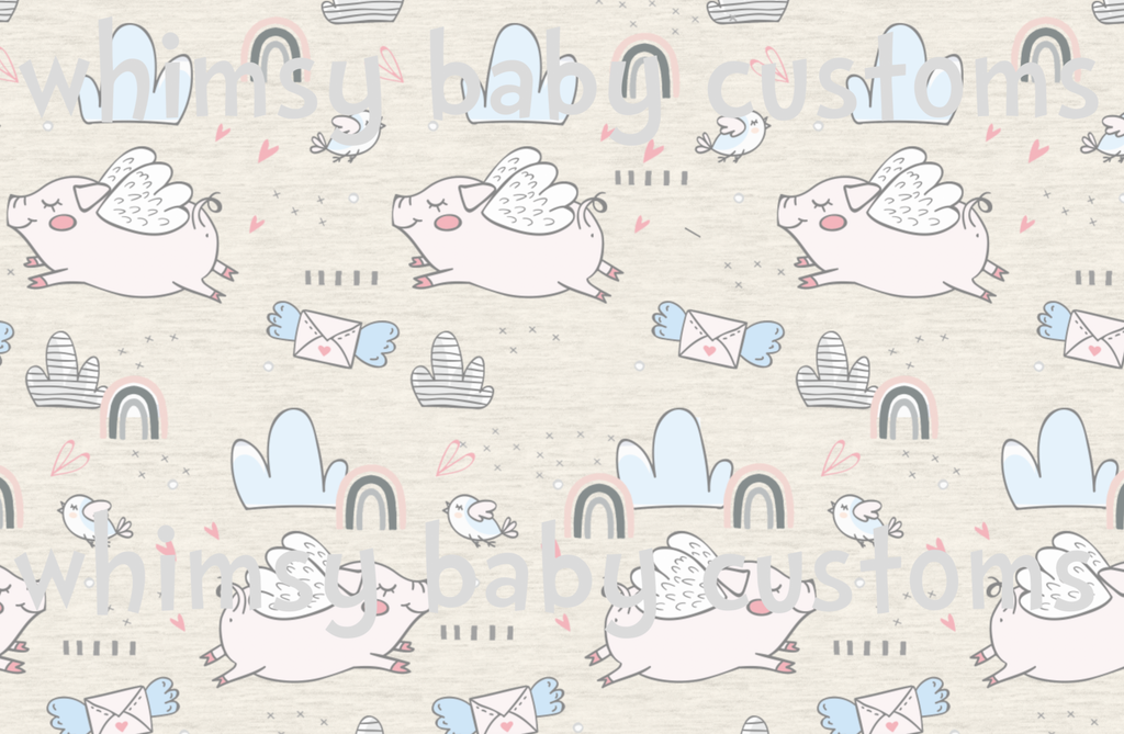 Feb/March 2020 Preorder - Fabric If Pig can Fly on FAUX Oatmeal Sweater Knit ON VARIOUS BASES