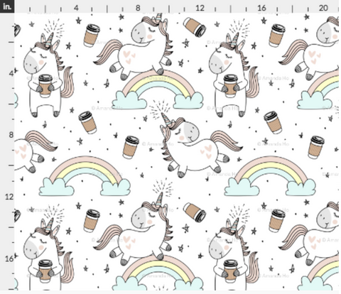 Unicorn Coffee Double Brushed Poly Fabric
