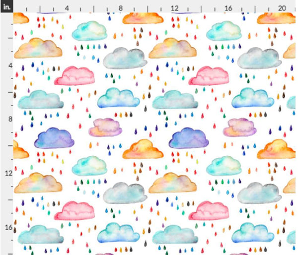 Fabric Emma Watercolour Clouds