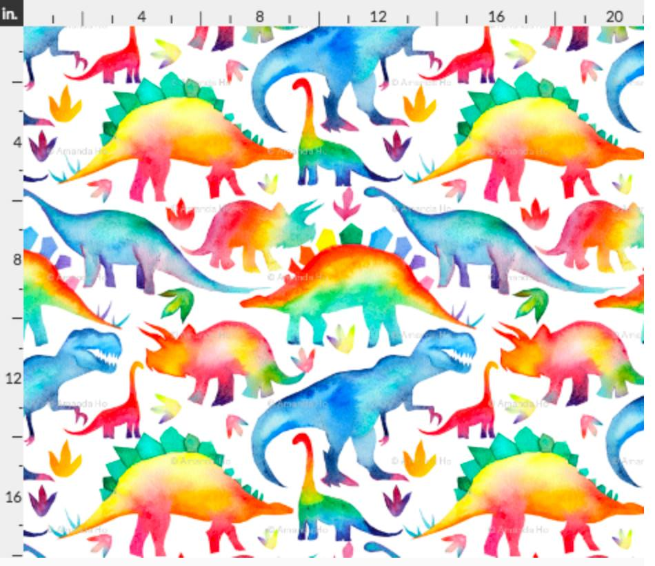 CPG's Preorder - Fabric Watercolour Dinos on White