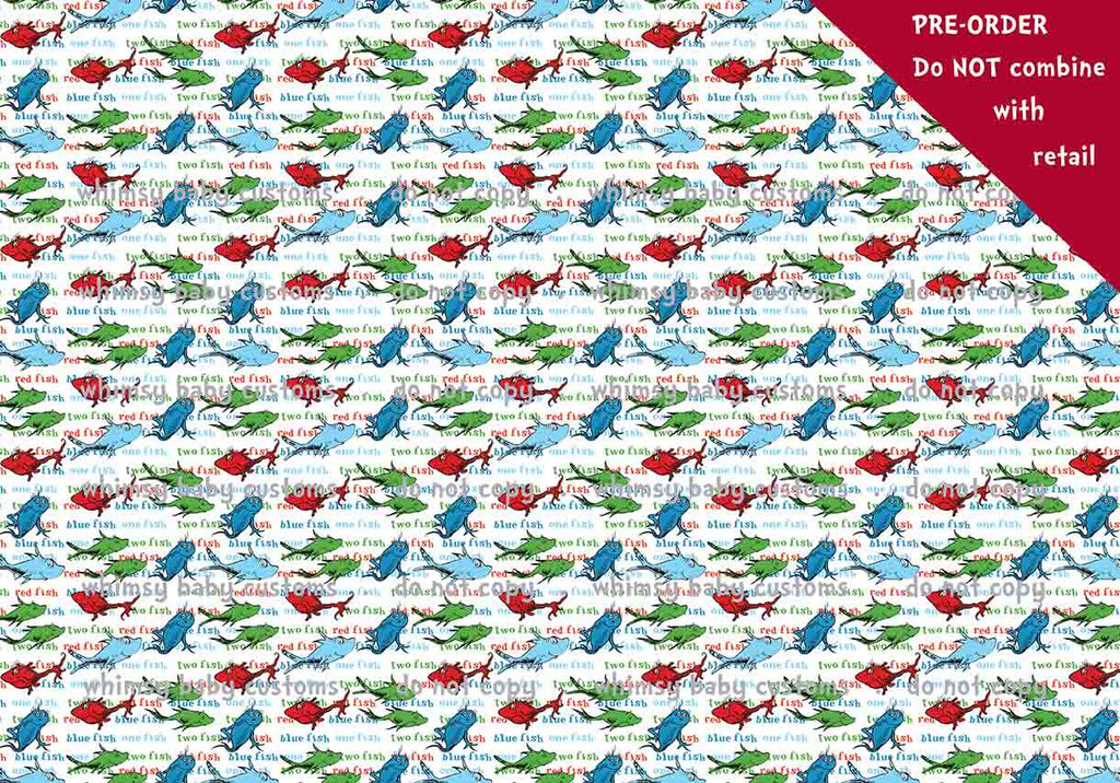 Dr. Seuss One fish two fish three fish Fabric