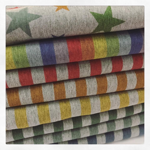 Special Preorder: Fabric Heathery POT OF GOLD Watercolour Stripes and Stars on HEATHER