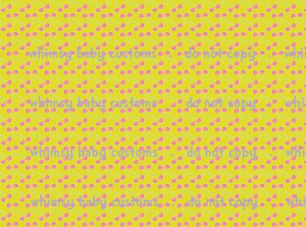 Fabric Bright Cherries on Yellow