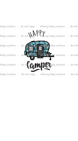 A1073 Adult/Romper Panel Happy Camper on White