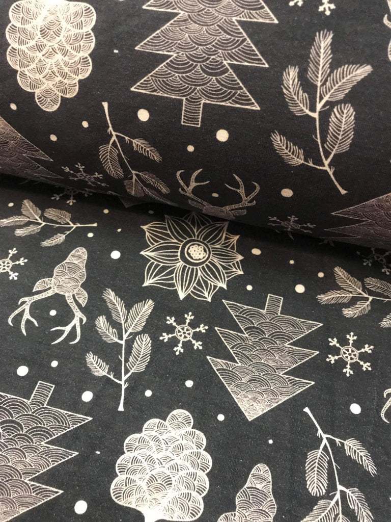 Christmas Fabric - Christmas Elements on Grey/Blue