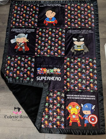 Whimsy Fluff Lazy Quilt Superhero Boys 1m