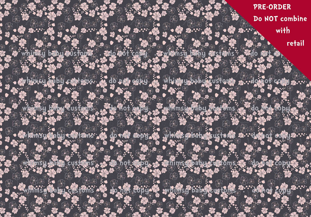 Pink and Grey Flowers Fabric