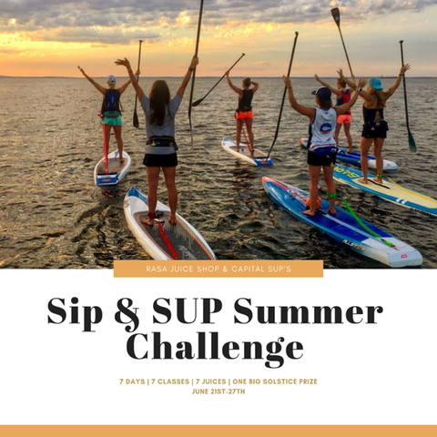 Summer Solstice yoga, SUP and juice challenge and classes in Annapolis