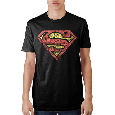 Superman Text Logo Mens Black  T-Shirt