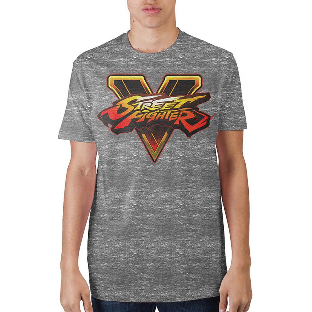 Street Fighter Logo Mens Gry T-Shirt