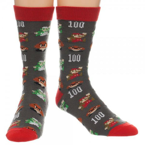 Nintendo Super Mario All Over Print Crew Sock