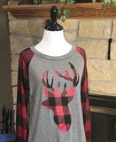 Deer Lizzie Applique Plaid Top