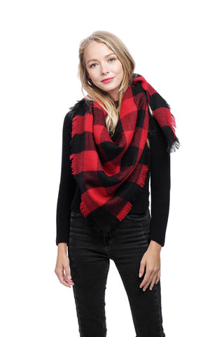 Waiting for Winter Oversized Gingham Blanket Scarf