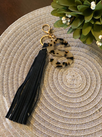 Leather Tassel Keyring With initials