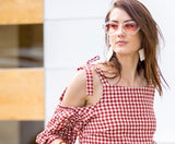 Classic Gingham Cold Shoulder Top