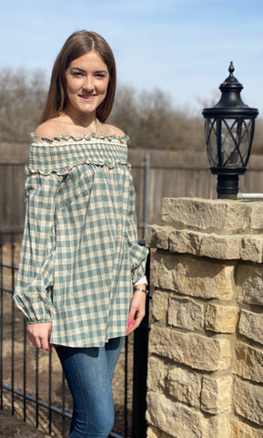 Checkered Past Off Shoulder Top