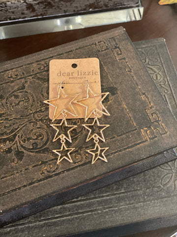 3 Gold Star Drop Earrings