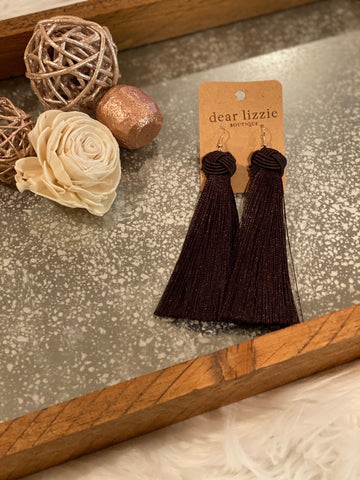 Dark Brown Tassel Earrings