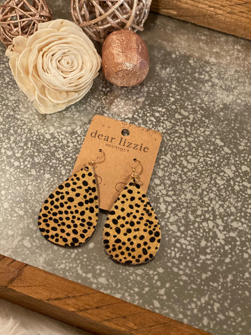 Ocelot Teardrop Earrings
