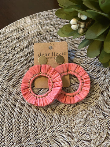 Round Raffia Earrings